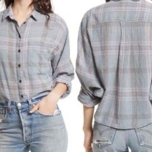 Free People Cutie Plaid Cropped Buttondown…